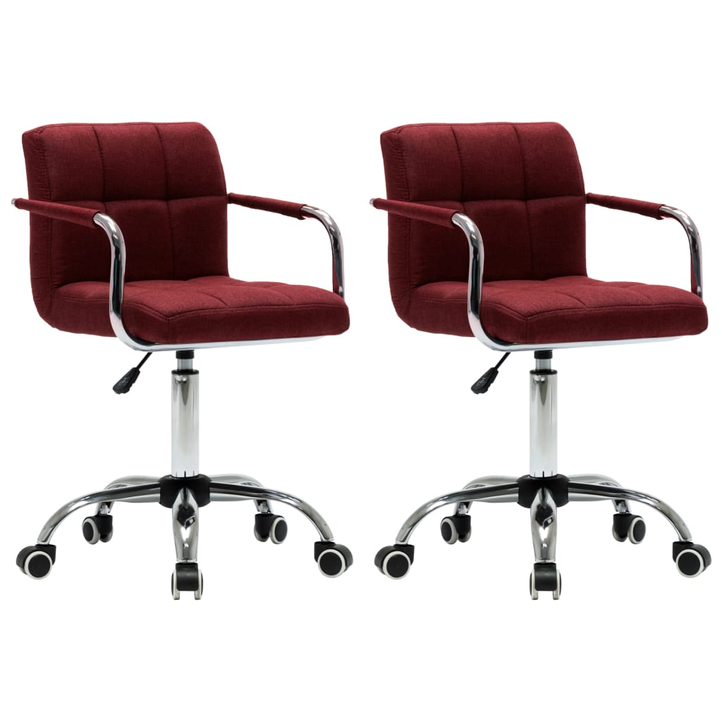 vidaXL Καρέκλες Τραπεζαρίας Περιστρεφόμενες 2 τεμ. Μπορντό Υφασμάτινες