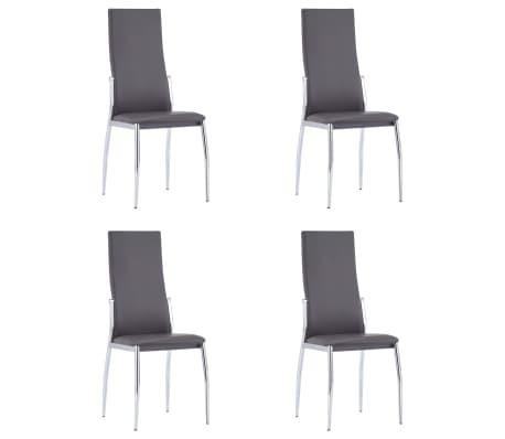 vidaXL Καρέκλες Τραπεζαρίας 4 τεμ. Γκρι από Συνθετικό Δέρμα