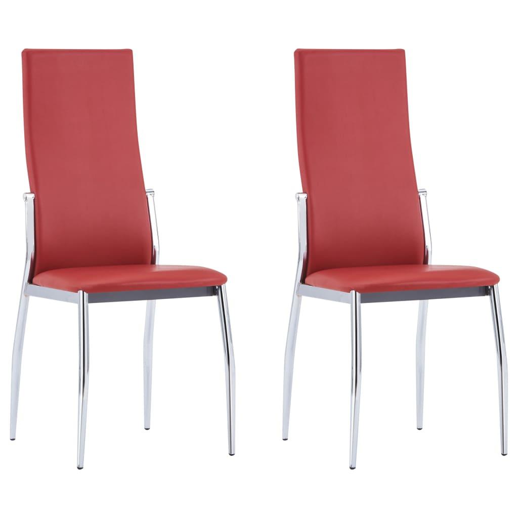 vidaXL Καρέκλες Τραπεζαρίας 2 τεμ. Κόκκινες από Συνθετικό Δέρμα