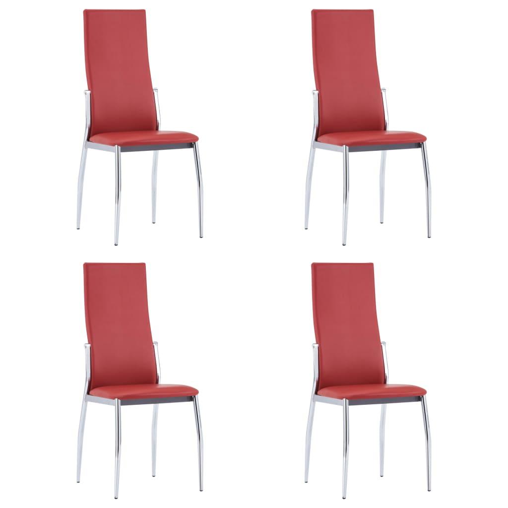 vidaXL Καρέκλες Τραπεζαρίας 4 τεμ. Κόκκινες από Συνθετικό Δέρμα