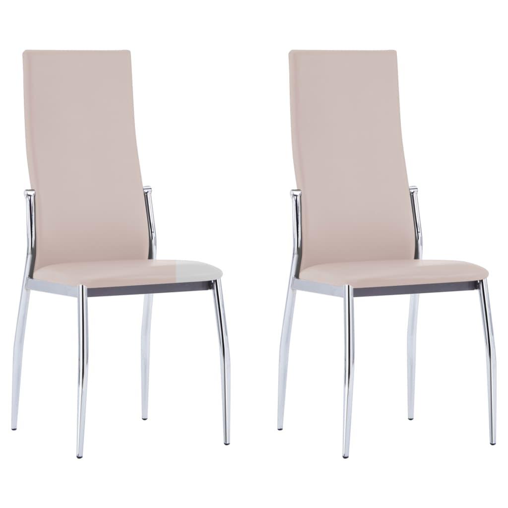 vidaXL Καρέκλες Τραπεζαρίας 2 τεμ. Χρώμα Καπουτσίνο Συνθετικό Δέρμα