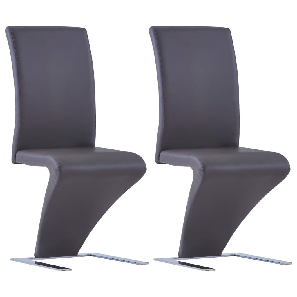vidaXL Καρέκλες Τραπεζαρίας Ζιγκ-Ζαγκ 2 τεμ. Γκρι από Συνθετικό Δέρμα