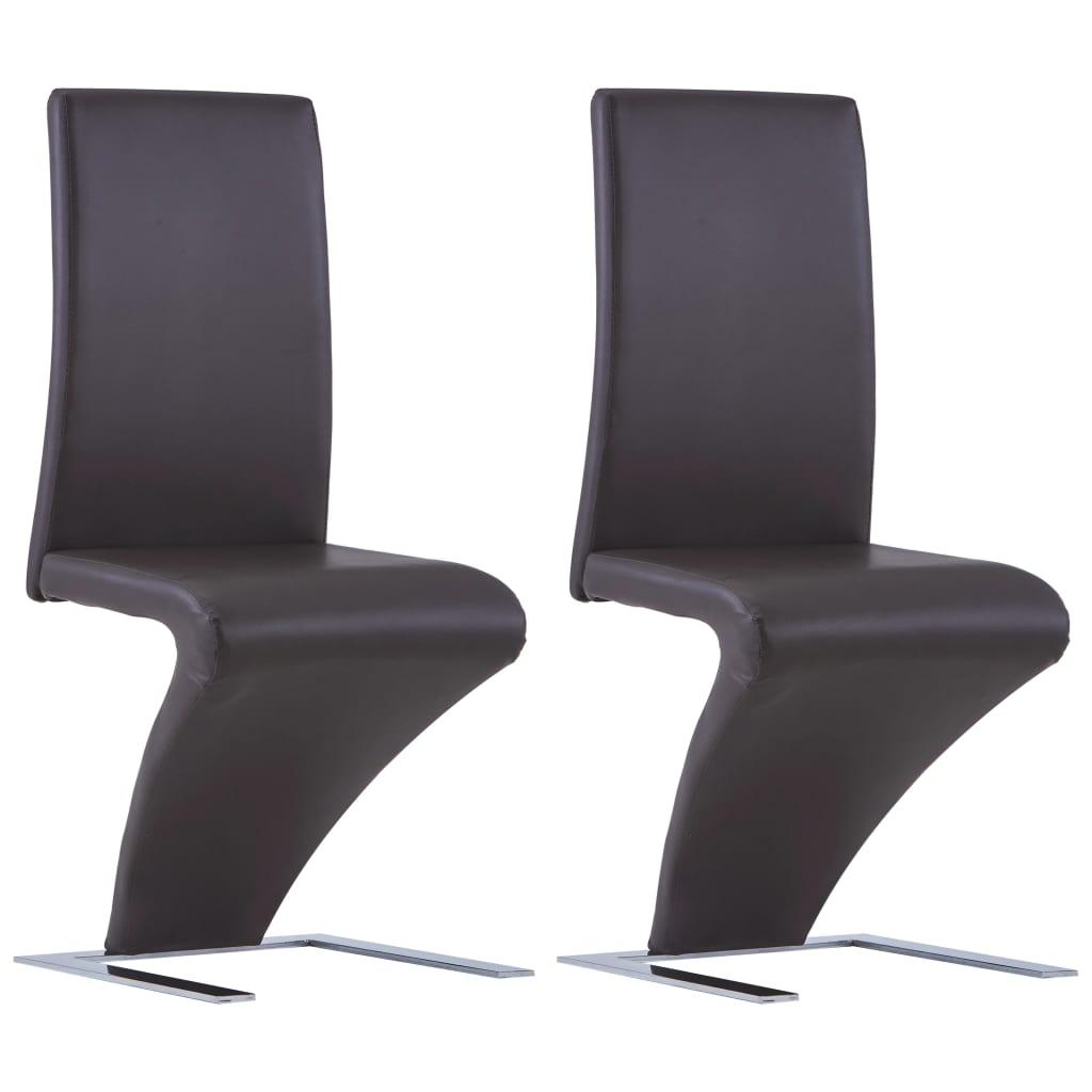 vidaXL Καρέκλες Τραπεζαρίας Ζιγκ-Ζαγκ 2 τεμ. Καφέ από Συνθετικό Δέρμα