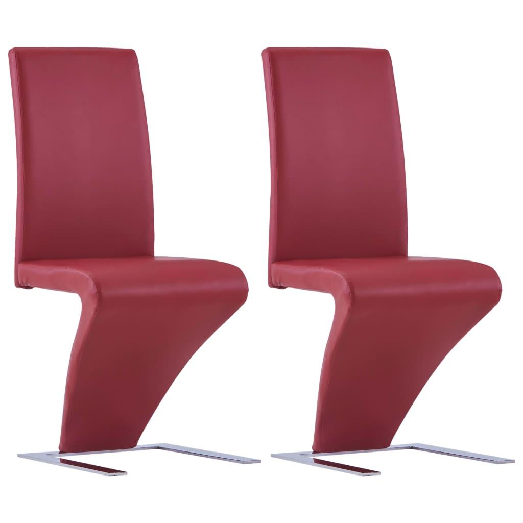 vidaXL Καρέκλες Τραπεζαρίας Ζιγκ-Ζαγκ 2 τεμ. Κόκκινες Συνθετικό Δέρμα