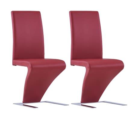vidaXL Eetkamerstoelen met zigzag-vorm 2 st kunstleer rood