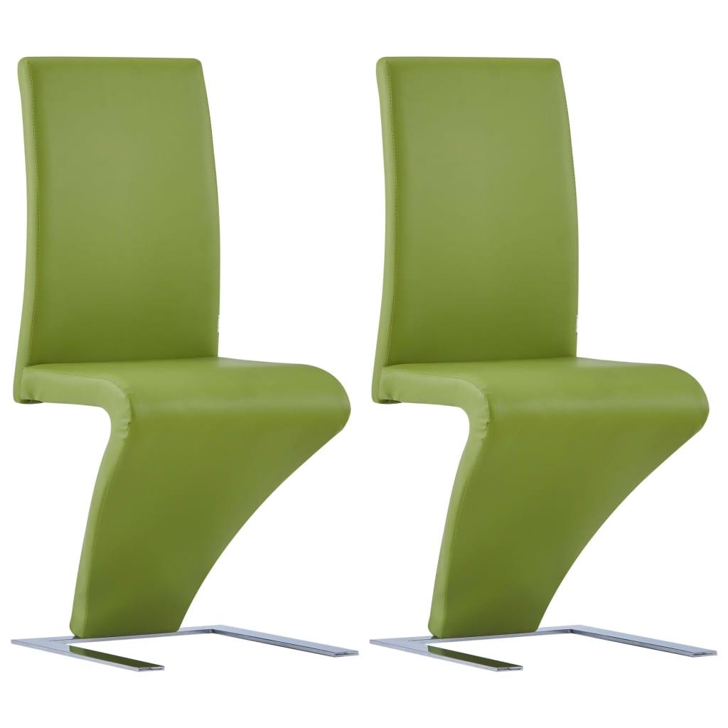 vidaXL Καρέκλες Τραπεζαρίας Ζιγκ-Ζαγκ 2 τεμ. Πράσινες Συνθετικό Δέρμα