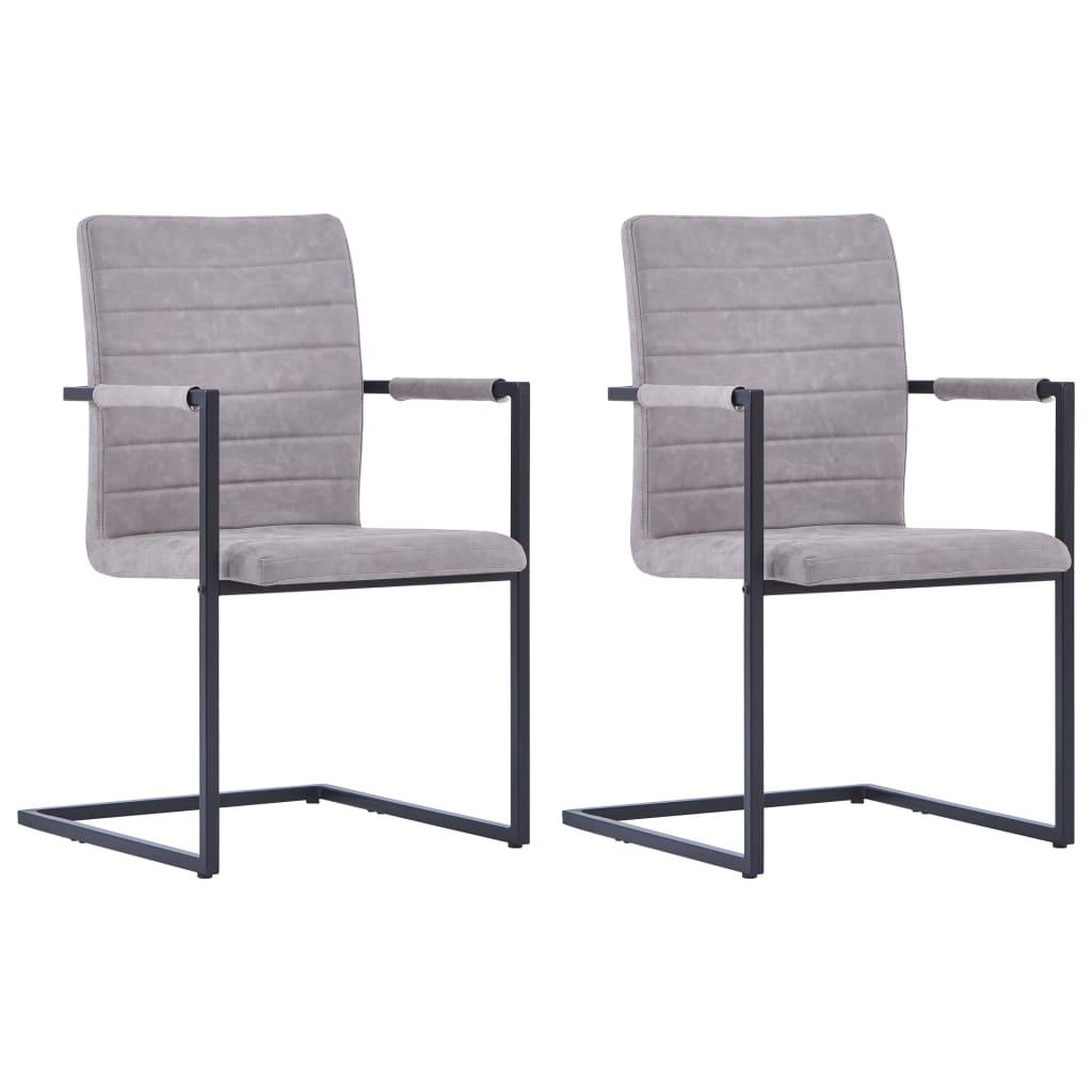 vidaXL Καρέκλες Τραπεζαρίας «Πρόβολος» 2 τεμ. Ανοιχτό Γκρι Δερματίνη