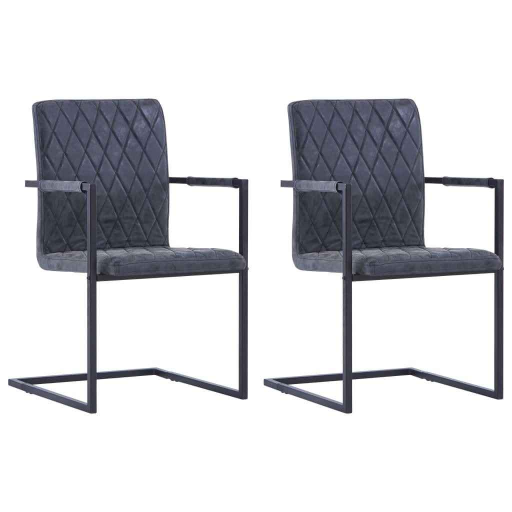 vidaXL Καρέκλες Τραπεζαρίας «Πρόβολος» 2 τεμ. Μαύρες από Δερματίνη