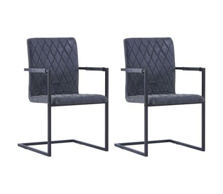 vidaXL Jedálenské stoličky, perová kostra 2 ks, čierne, umelá koža