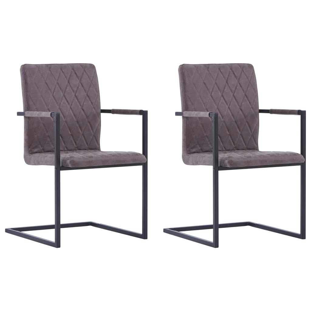 vidaXL Καρέκλες Τραπεζαρίας «Πρόβολος» 2 τεμ. Σκούρο Καφέ Δερματίνη