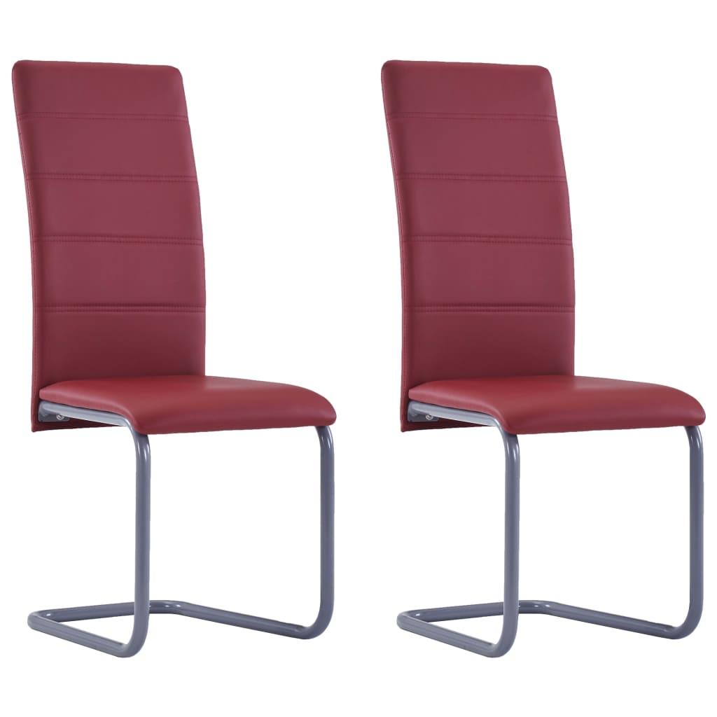 vidaXL Καρέκλες Τραπεζαρίας «Πρόβολος» 2 τεμ. Κόκκινες Συνθετικό Δέρμα