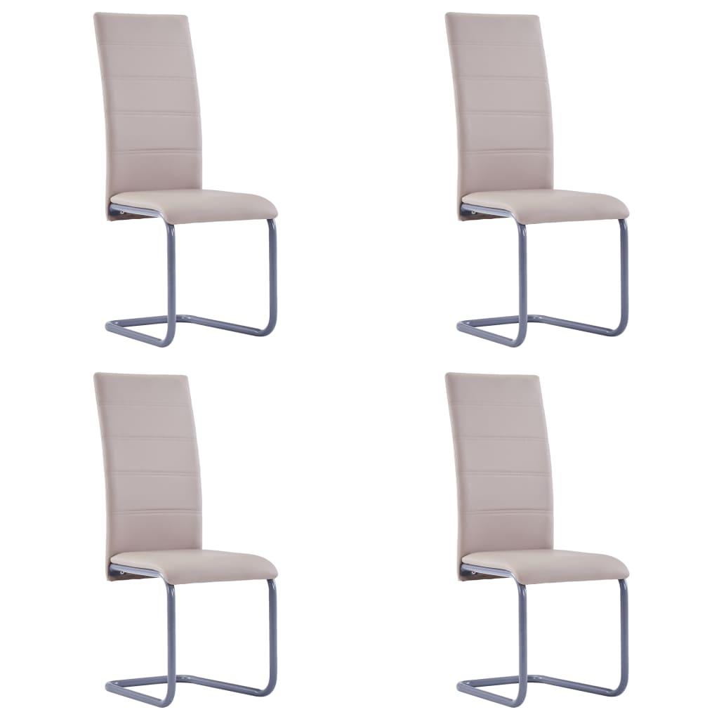 vidaXL Καρέκλες Τραπεζαρίας 4 τεμ. Χρώμα Καπουτσίνο Συνθετικό Δέρμα