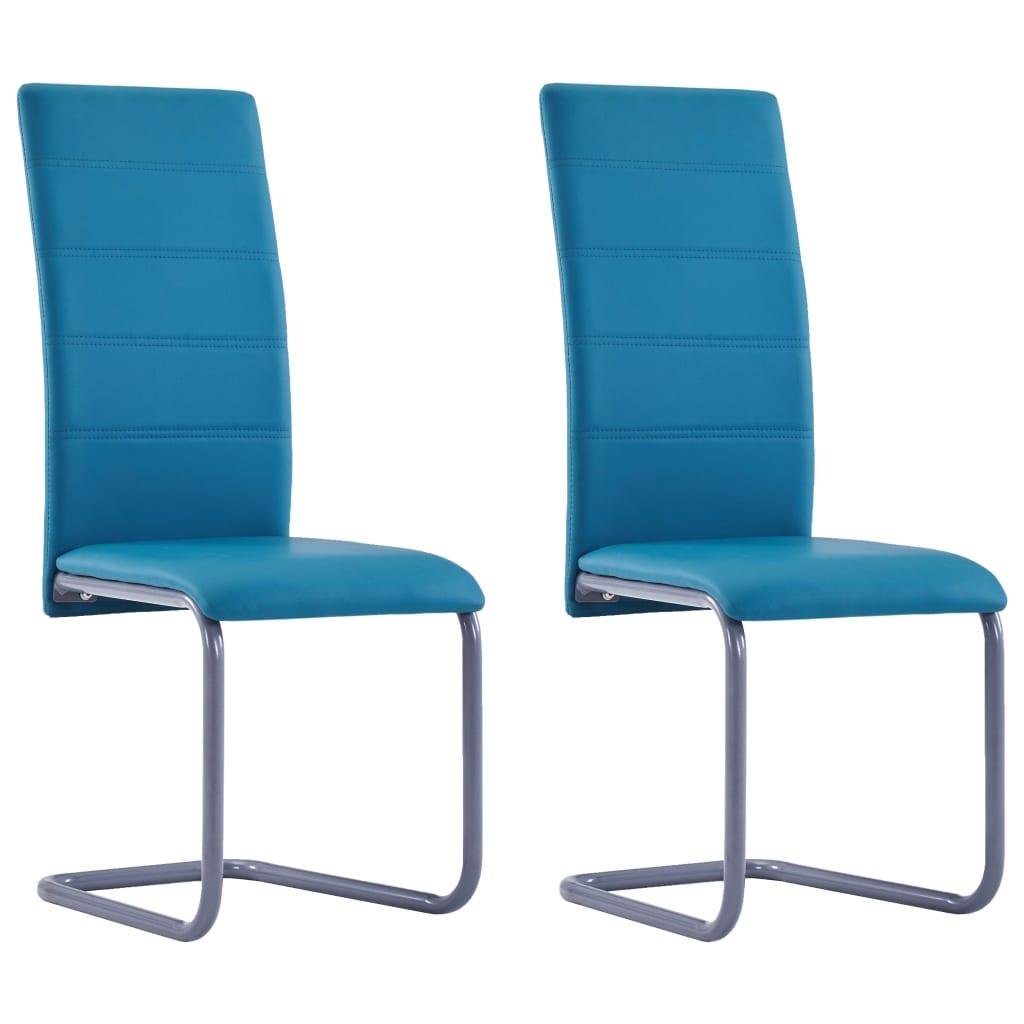 vidaXL Καρέκλες Τραπεζαρίας 2 τεμ. Μπλε από Συνθετικό Δέρμα