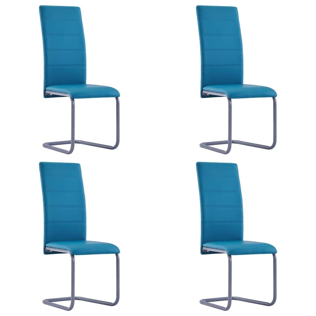vidaXL Καρέκλες Τραπεζαρίας 4 τεμ. Μπλε από Συνθετικό Δέρμα