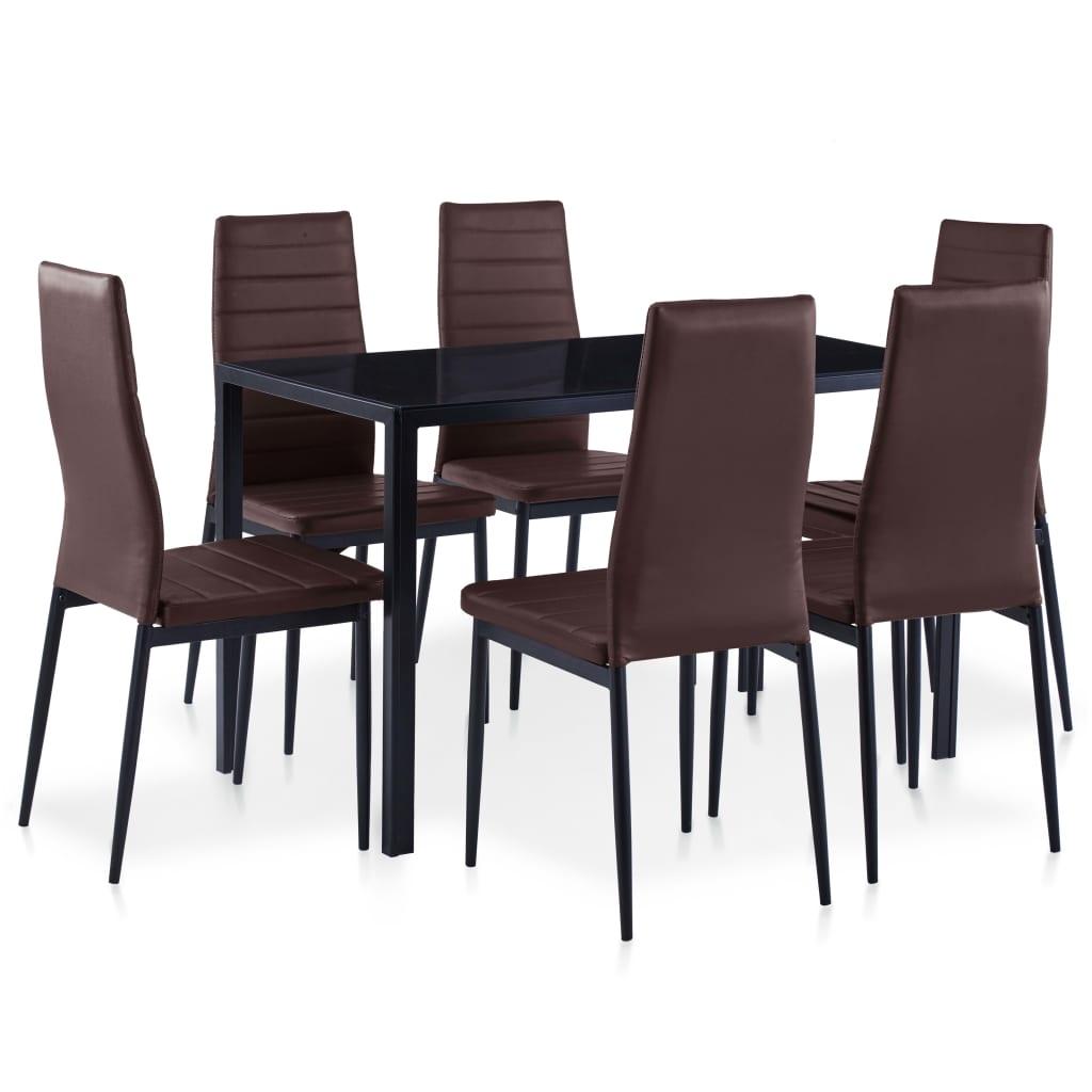vidaXL Set mobilier de bucătărie, 7 piese, maro vidaxl.ro