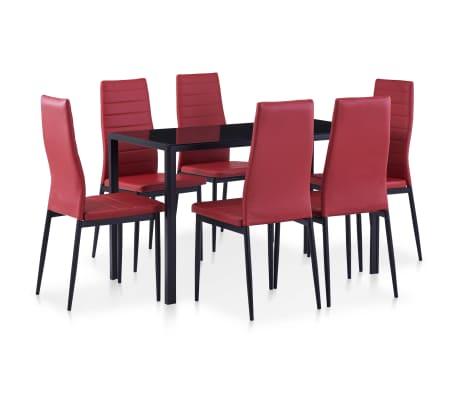 vidaXL Set mobilier de bucătărie, 7 piese, roșu vin