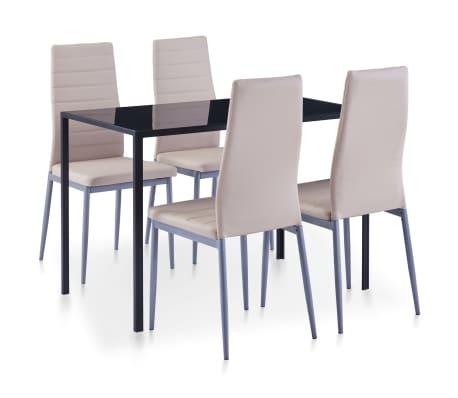 vidaXL Five Piece Dining Set Cappuccino