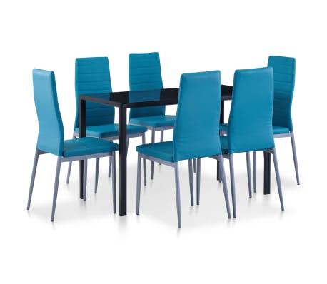 vidaXL Seven Piece Dining Set Blue