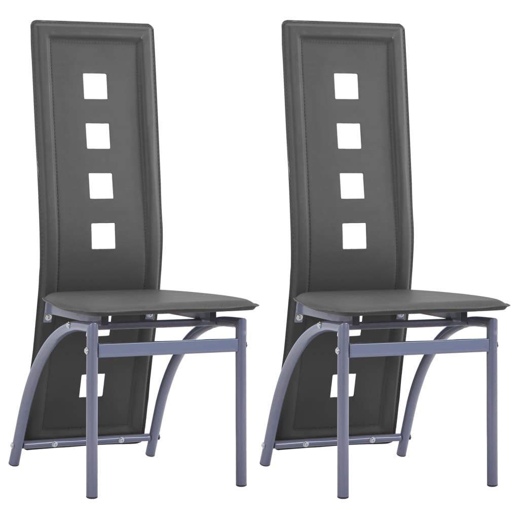 vidaXL Jídelní židle 2 ks šedé umělá kůže