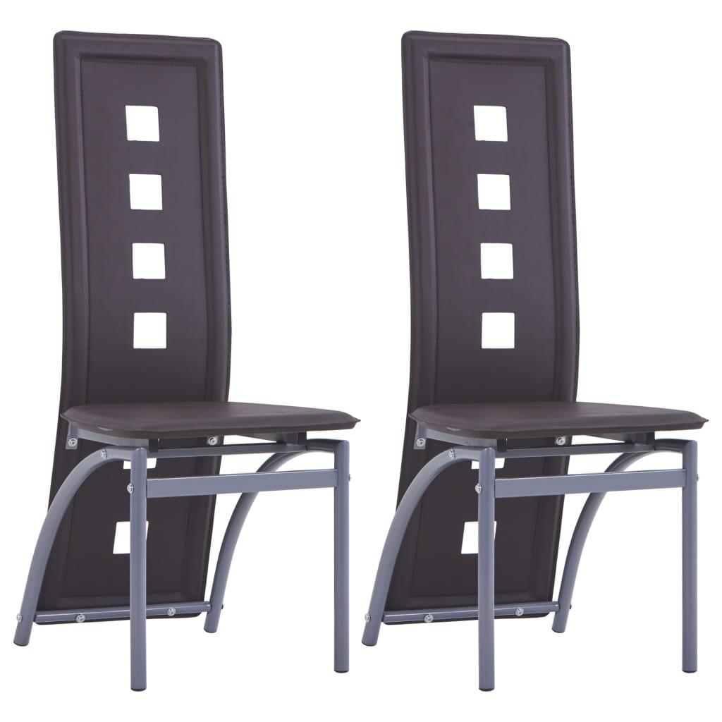 vidaXL Jídelní židle 2 ks hnědé umělá kůže