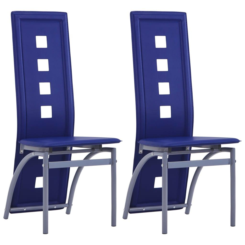 vidaXL Jídelní židle 2 ks modré umělá kůže