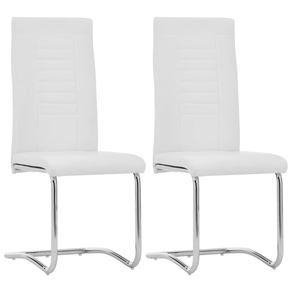vidaXL Καρέκλες Τραπεζαρίας «Πρόβολος» 2 τεμ. Λευκές Συνθετικό Δέρμα