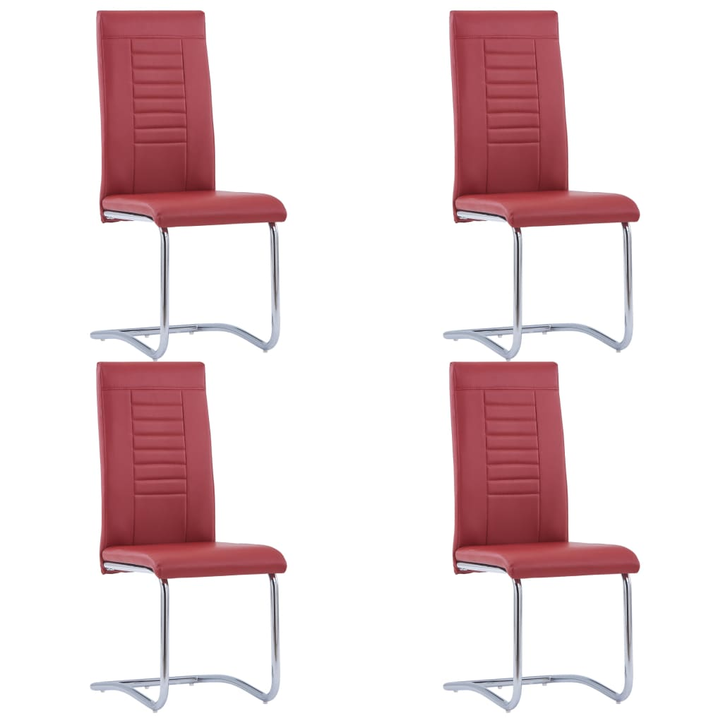 vidaXL Καρέκλες Τραπεζαρίας «Πρόβολος» 4 τεμ. Κόκκινες Συνθετικό Δέρμα