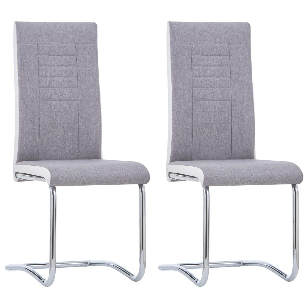 vidaXL Καρέκλες Τραπεζαρίας «Πρόβολος» 2 τεμ. Ανοιχτό Γκρι Υφασμάτινες