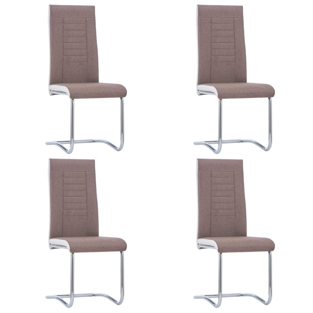 vidaXL Καρέκλες Τραπεζαρίας «Πρόβολος» 4 τεμ. Καφέ Υφασμάτινες