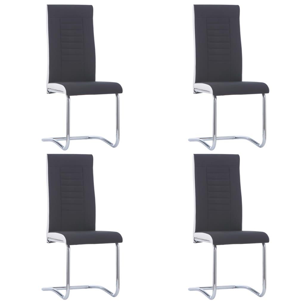 vidaXL Καρέκλες Τραπεζαρίας «Πρόβολος» 4 τεμ. Μαύρες Υφασμάτινες