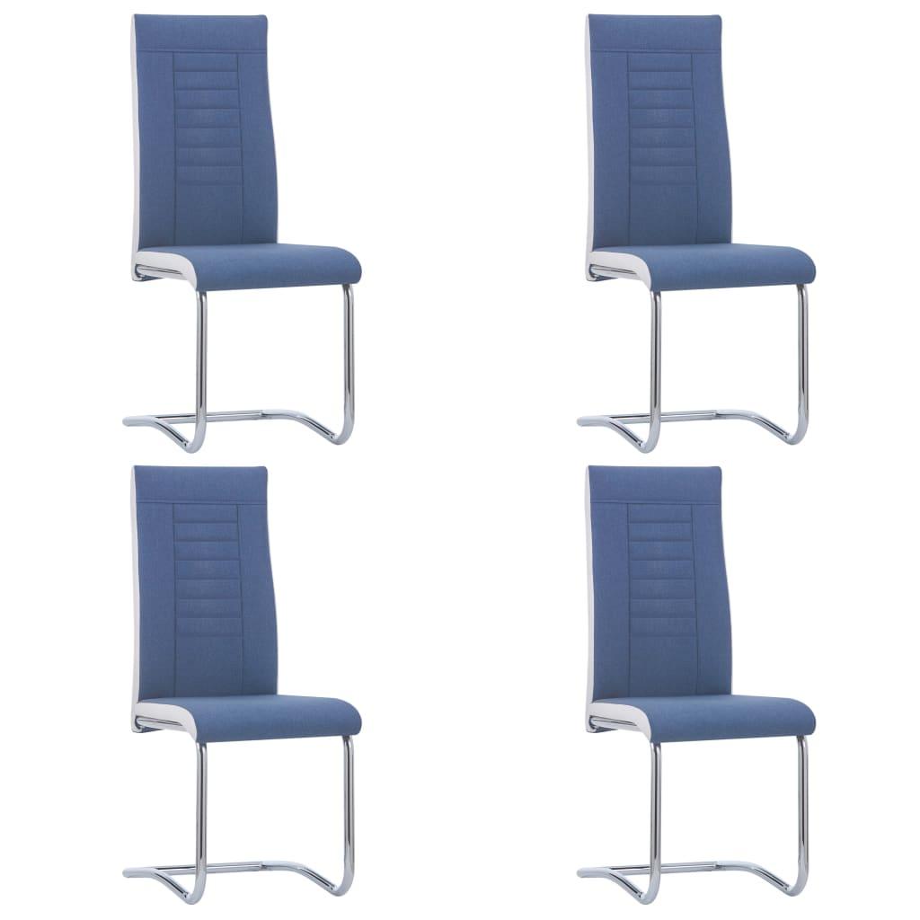 vidaXL Καρέκλες Τραπεζαρίας «Πρόβολος» 4 τεμ. Μπλε Υφασμάτινες