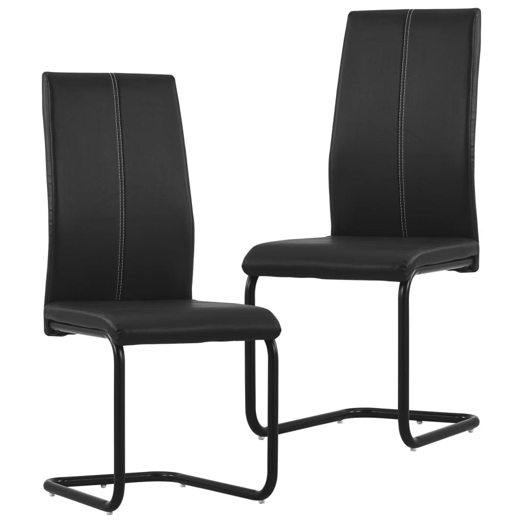 vidaXL Καρέκλες Τραπεζαρίας «Πρόβολος» 2 τεμ. Μαύρες Συνθετικό Δέρμα