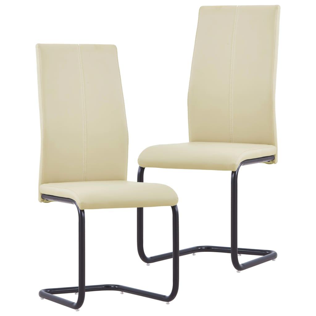 vidaXL spisebordsstole 2 stk. kunstlæder cappuccinofarvet
