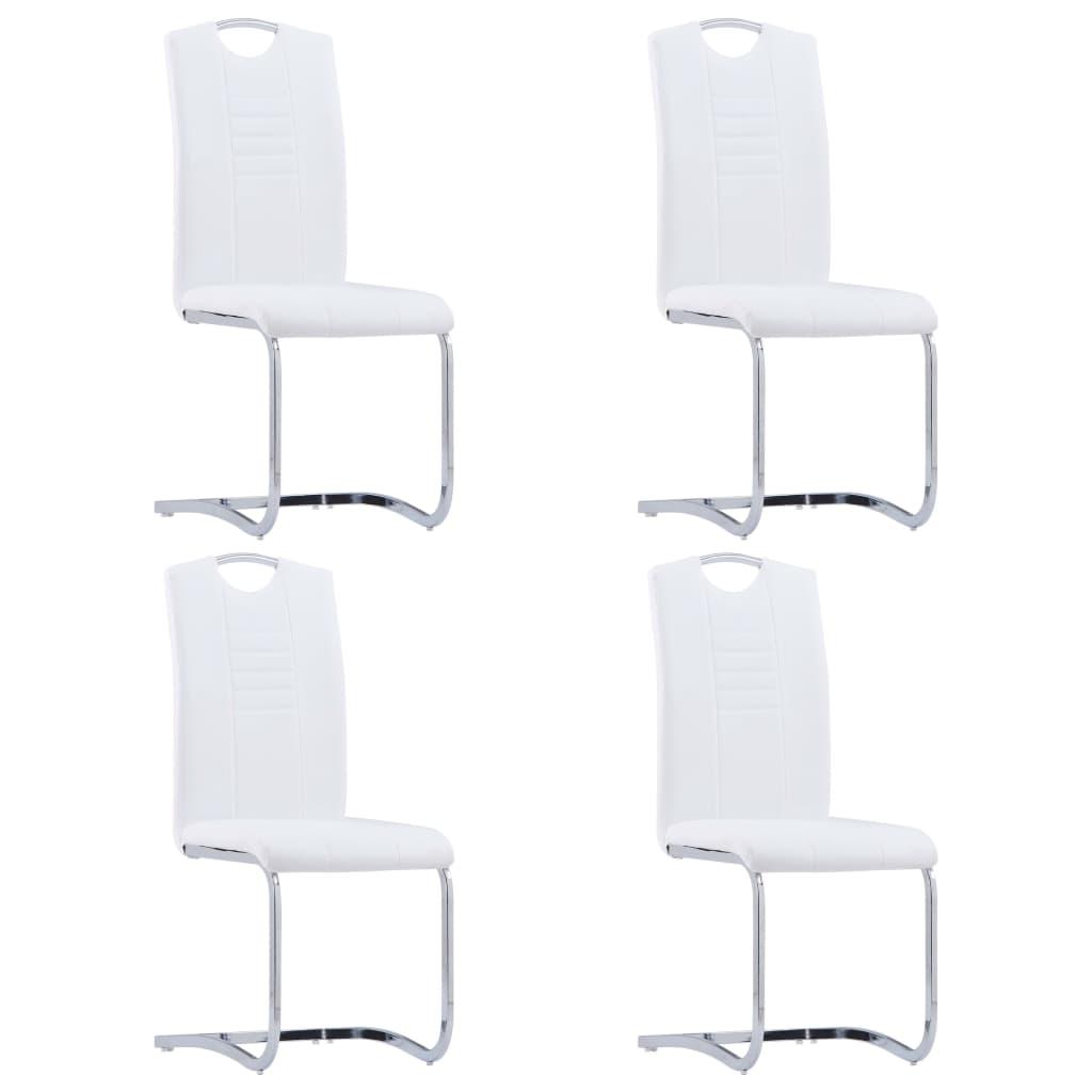 vidaXL Καρέκλες Τραπεζαρίας «Πρόβολος» 4 τεμ. Λευκές Συνθετικό Δέρμα