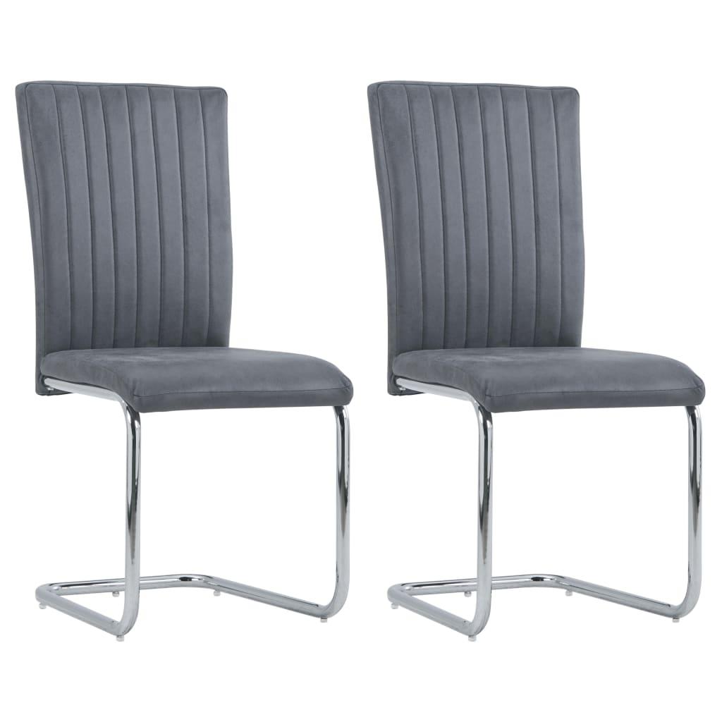 vidaXL spisebordsstole med cantilever 2 stk. imiteret ruskind grå