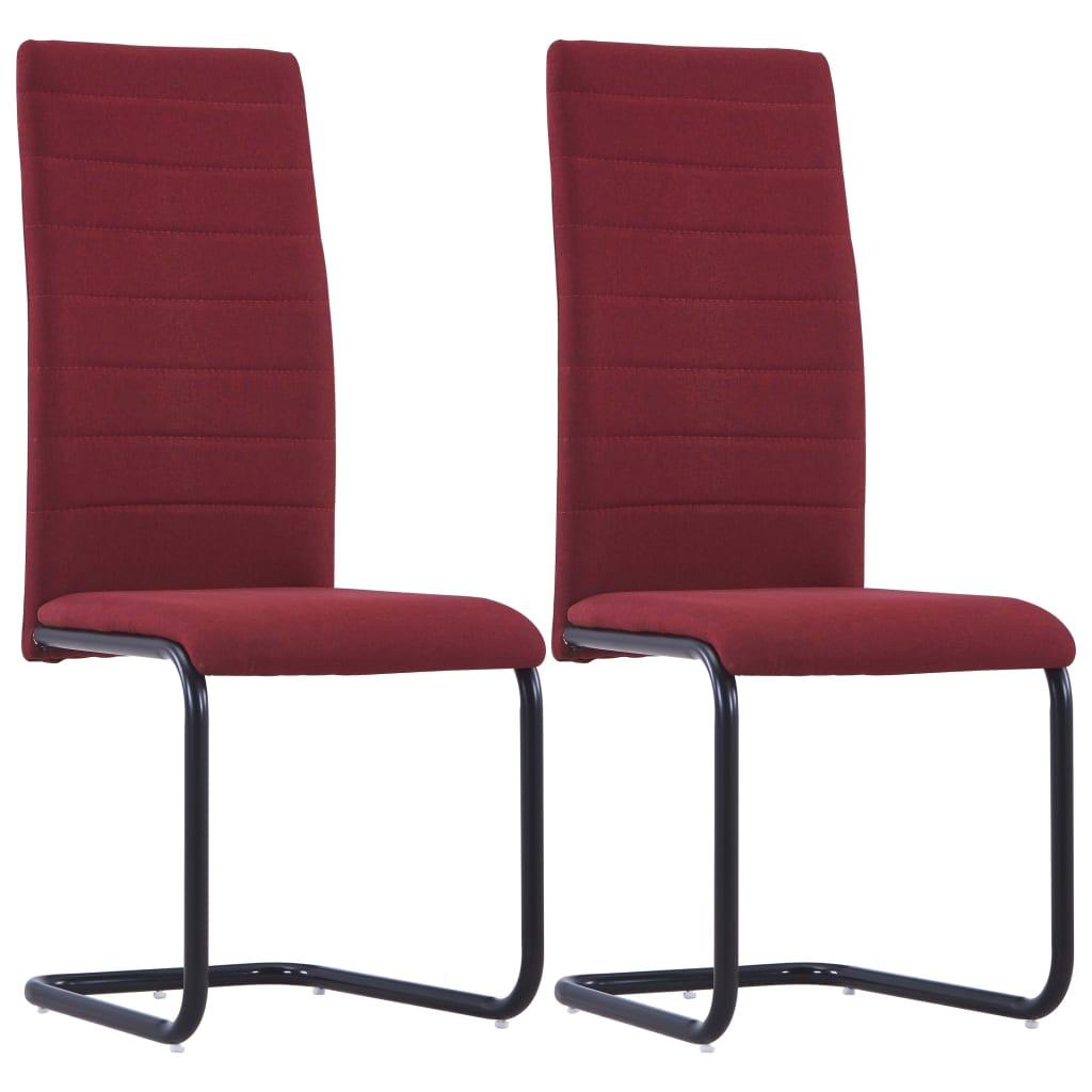 vidaXL Καρέκλες Τραπεζαρίας «Πρόβολος» 2 τεμ. Μπορντό Υφασμάτινες