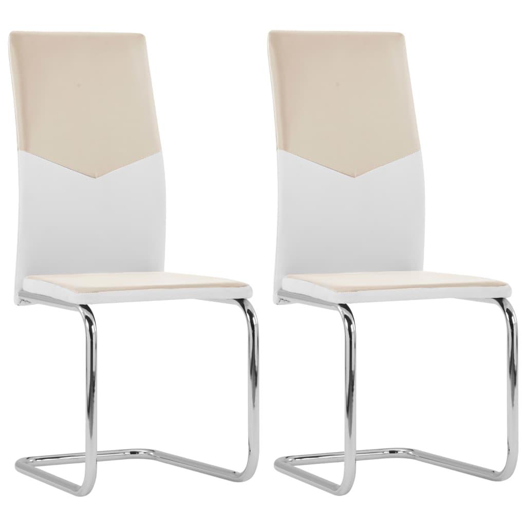 vidaXL spisebordsstole med cantilever 2 stk. kunstlæder cappuccino