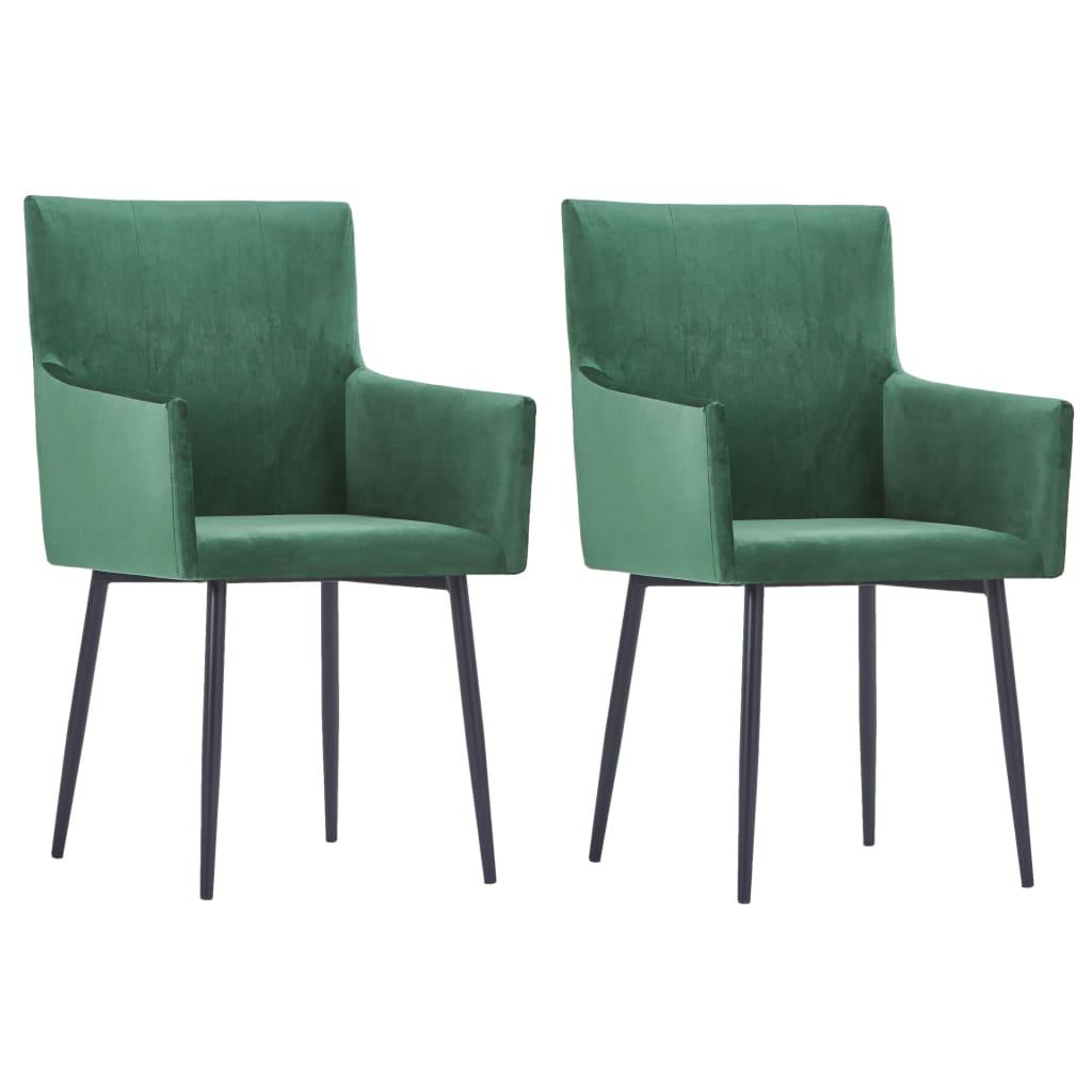 vidaXL Καρέκλες Τραπεζαρίας με Μπράτσα 2 τεμ. Πράσινες Βελούδινες