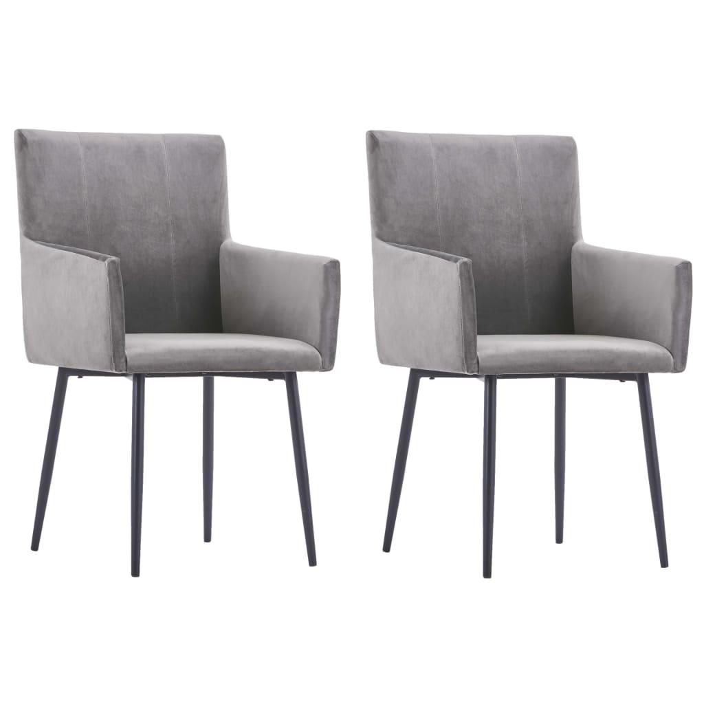 vidaXL Καρέκλες Τραπεζαρίας με Μπράτσα 2 τεμ. Γκρι Βελούδινες