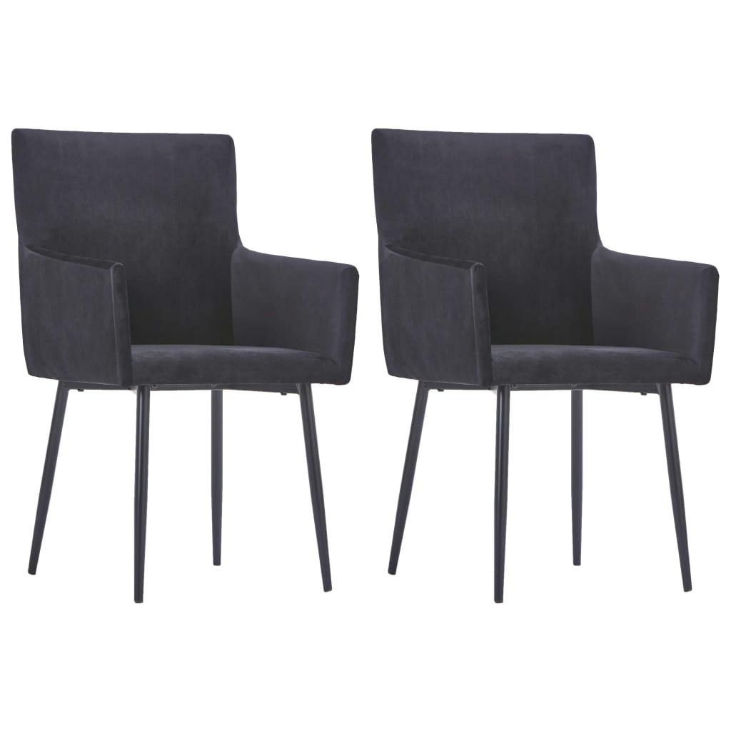 vidaXL Καρέκλες Τραπεζαρίας με Μπράτσα 2 τεμ. Μαύρες Βελούδινες