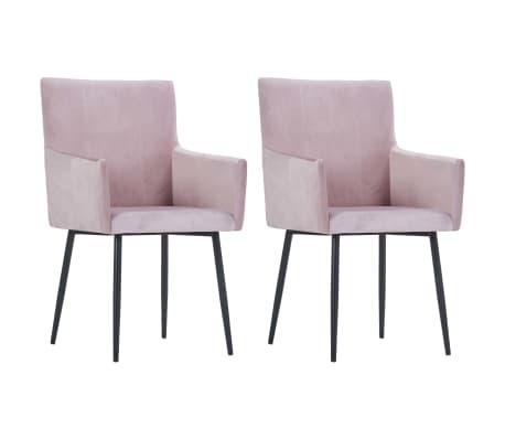 vidaXL Chaises de salle à manger avec accoudoirs 2 pcs Rose Velours