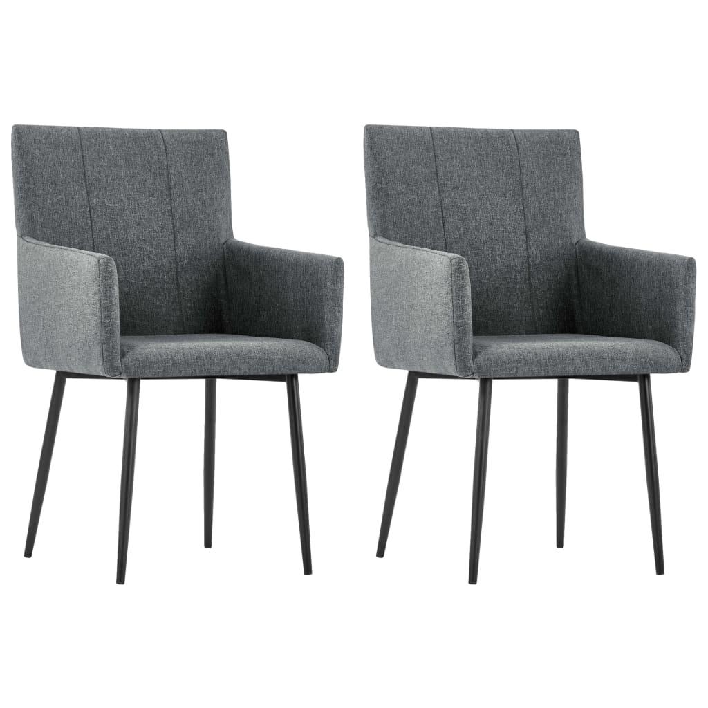 vidaXL Καρέκλες Τραπεζαρίας με Μπράτσα 2 τεμ. Σκούρο Γκρι Υφασμάτινες
