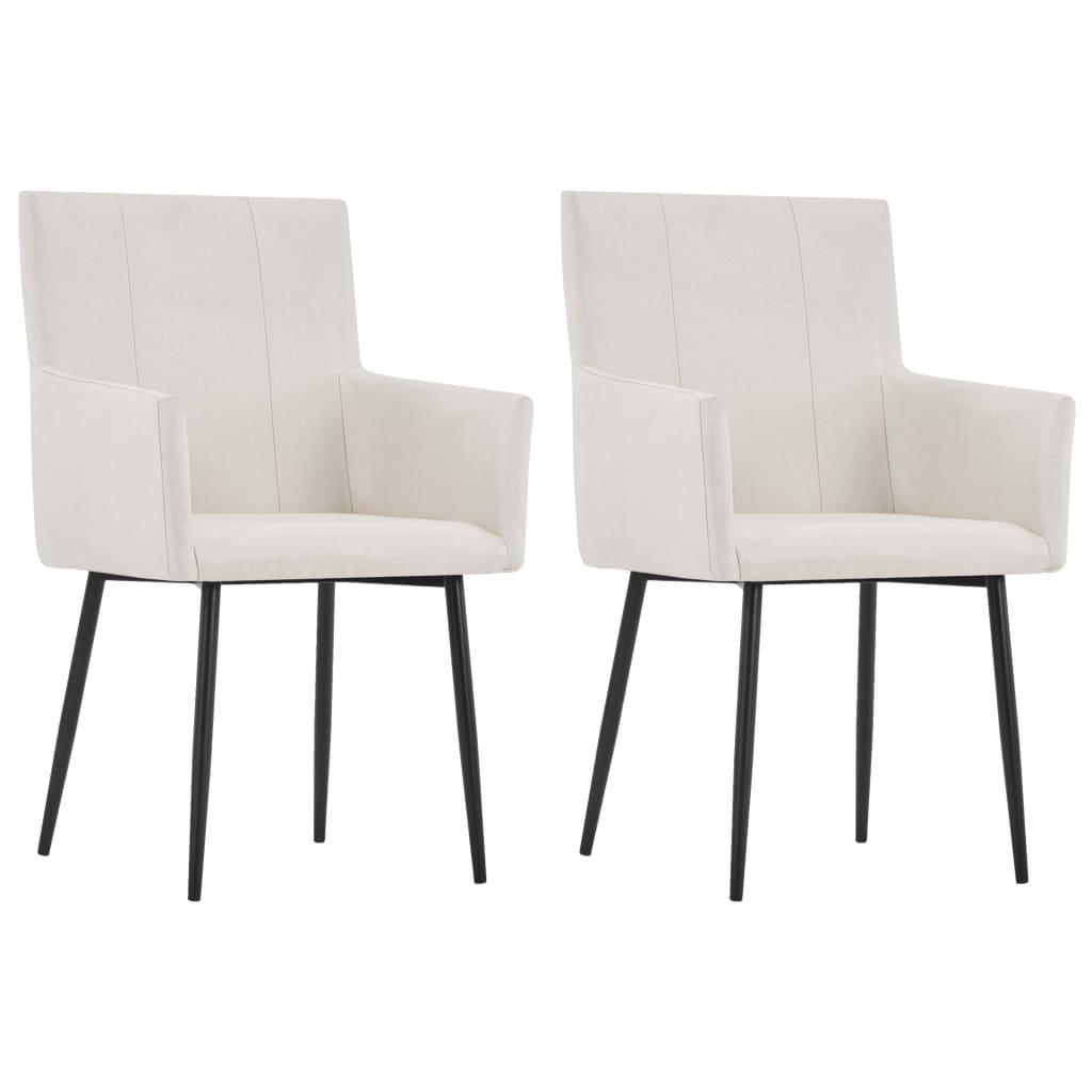 vidaXL Καρέκλες Τραπεζαρίας με Μπράτσα 2 τεμ. Κρεμ Υφασμάτινες