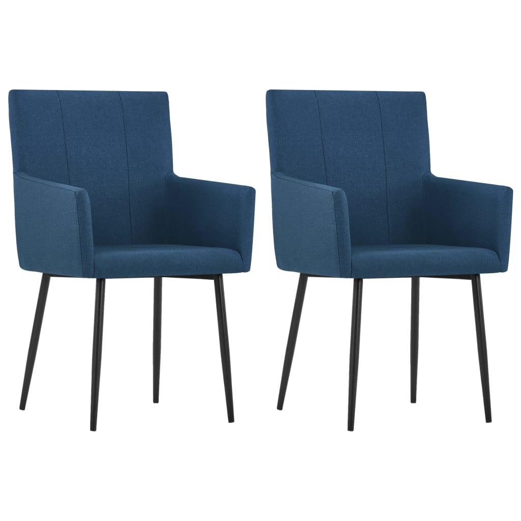 vidaXL Esszimmerstühle mit Armlehnen 2 Stk. Blau Stoff