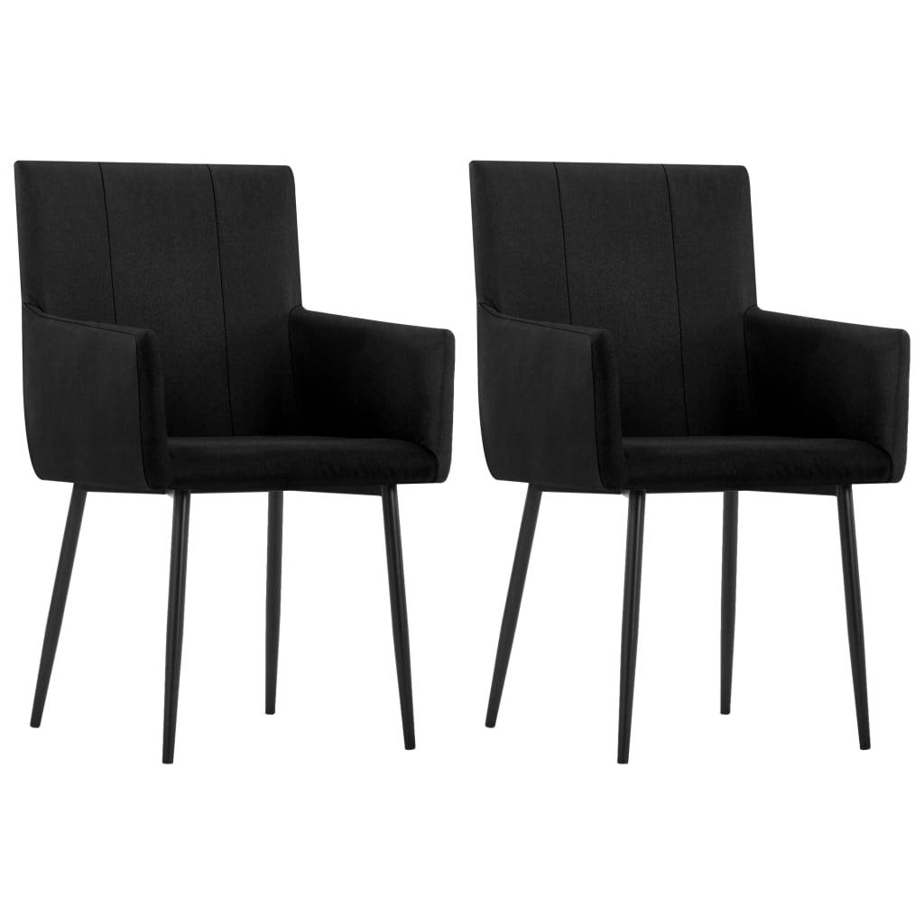 vidaXL Καρέκλες Τραπεζαρίας με Μπράτσα 2 τεμ. Μαύρες Υφασμάτινες