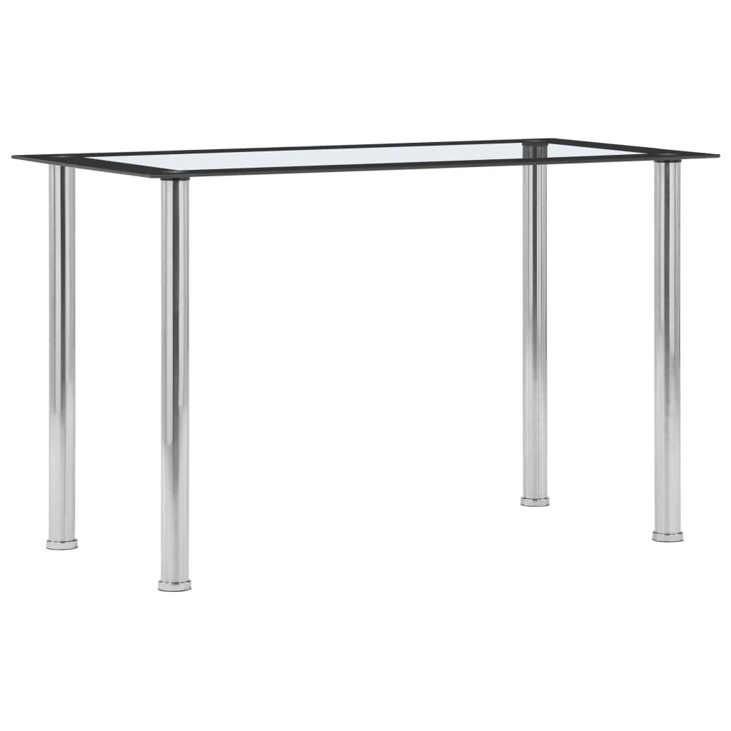 Jídelní stůl černo-průhledný 120 x 60 x 75 cm tvrzené sklo