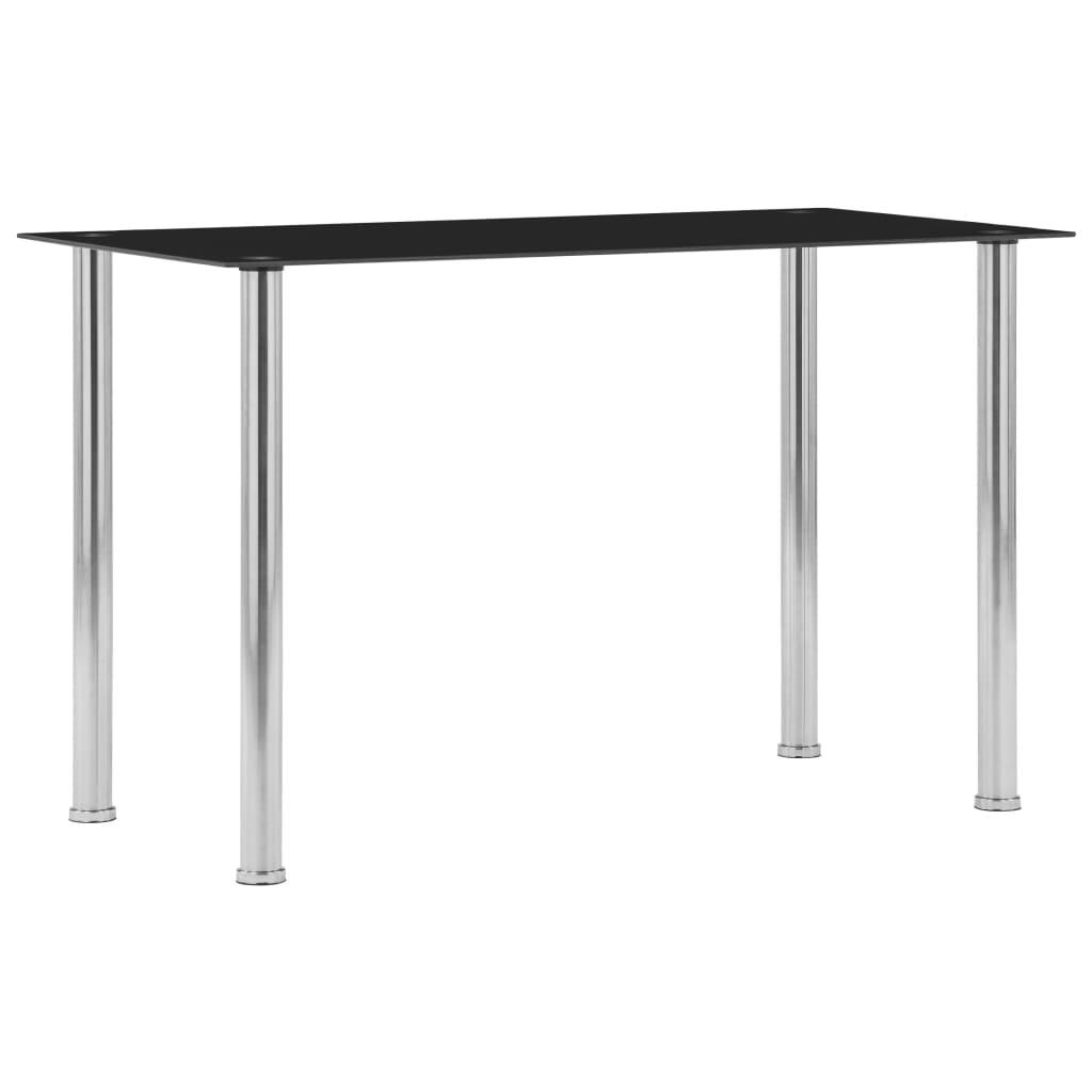 Jídelní stůl černý 120 x 60 x 75 cm tvrzené sklo