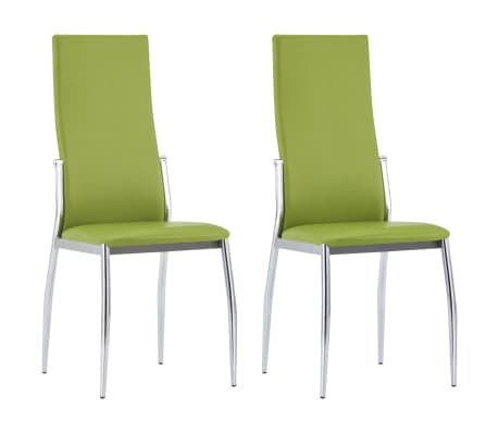 vidaXL Dining Chairs 2 pcs Green Faux Leather