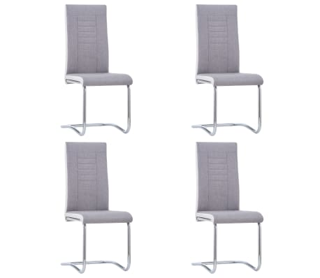 vidaXL Cantilever Dining Chairs 4 pcs Light Grey Fabric
