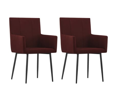 vidaXL Dining Chairs with Armrests 2 pcs Wine Red Fabric